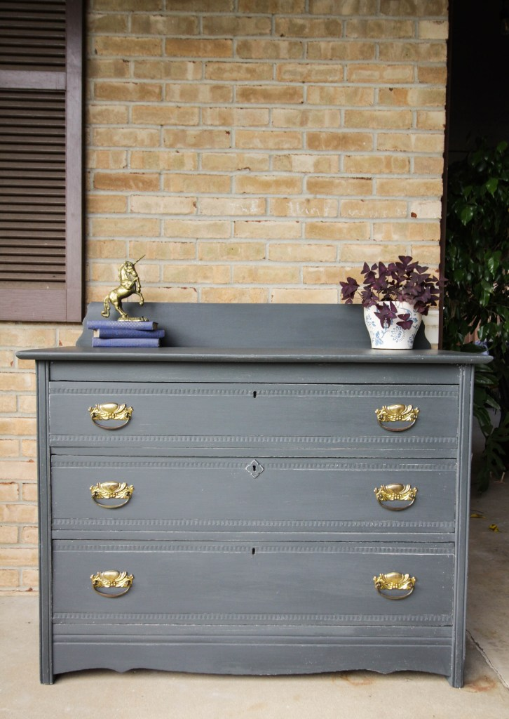 Rustic Charcoal Gray & Gold Farmhouse Style Dresser DIY