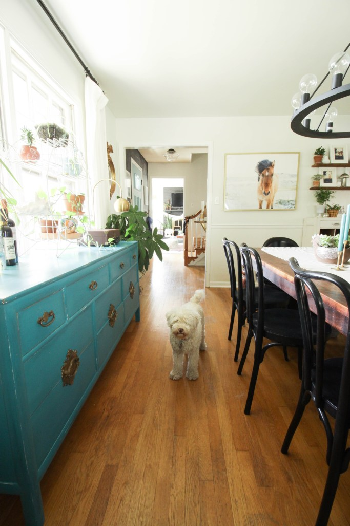 Turquoise Sideboard in Eclectic Dining Room
