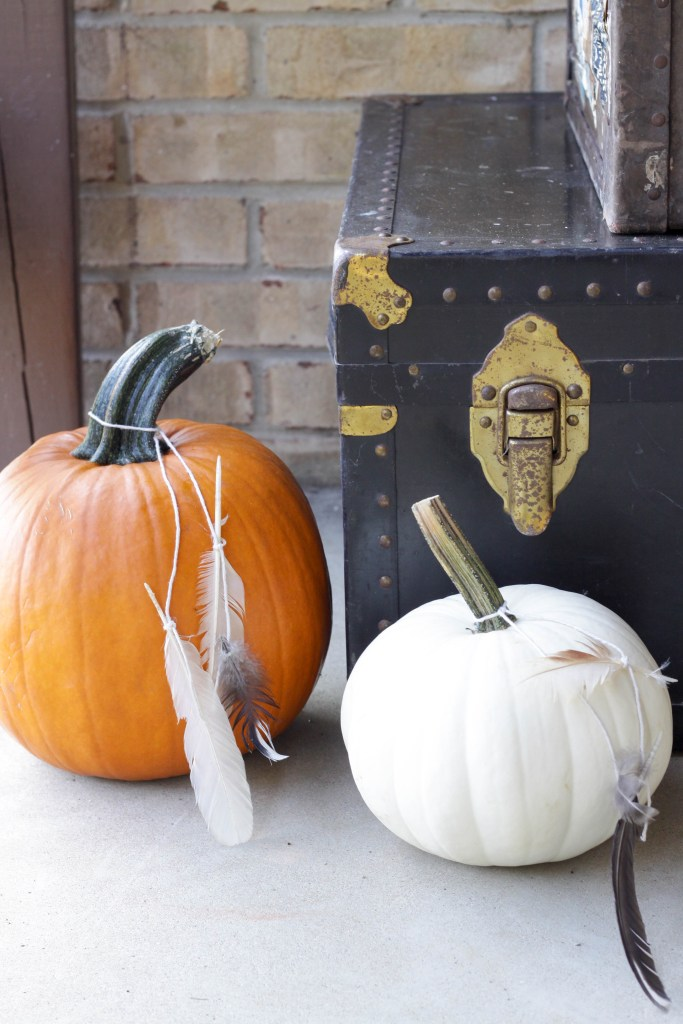 Feathers tied on pumpkins