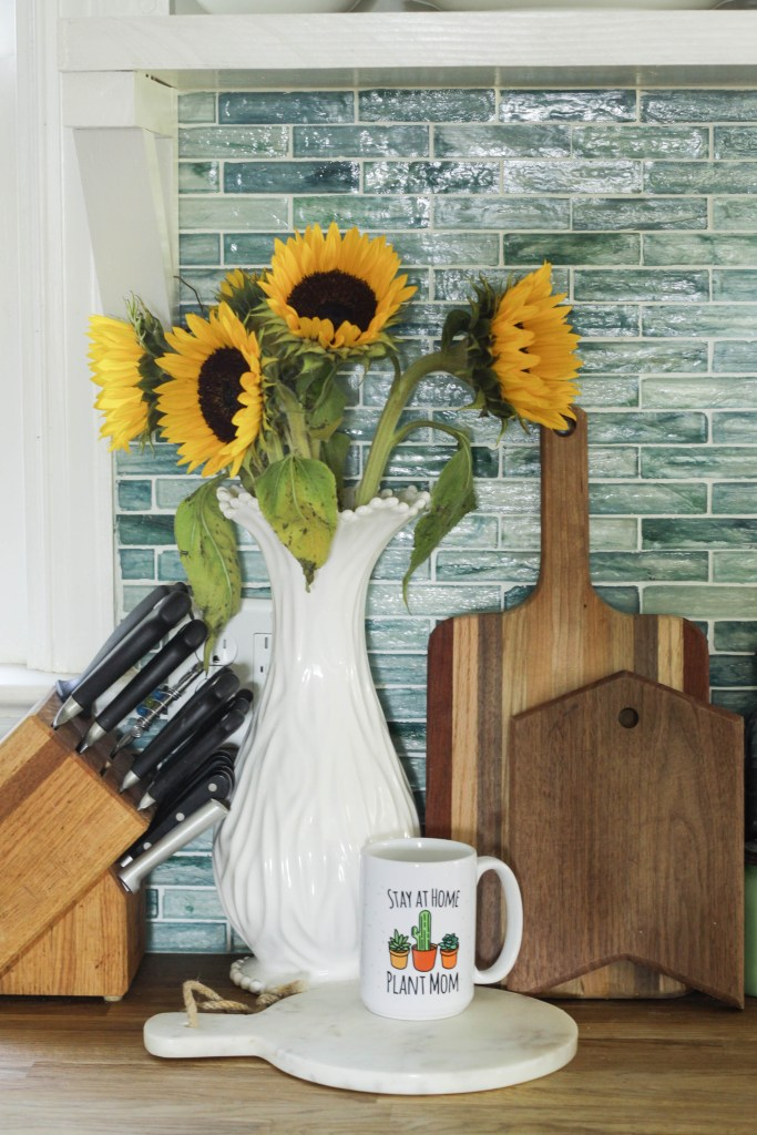 Sunflowers bring a fall touch to the kitchen