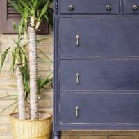 Furniture Makeover: Indigo & Brass Teardrop Vintage Dresser