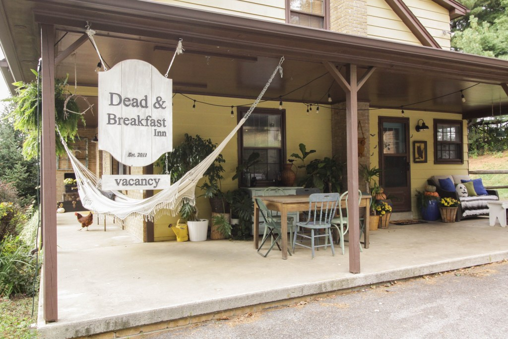 Halloween Porch with Dead & Breakfast Sign