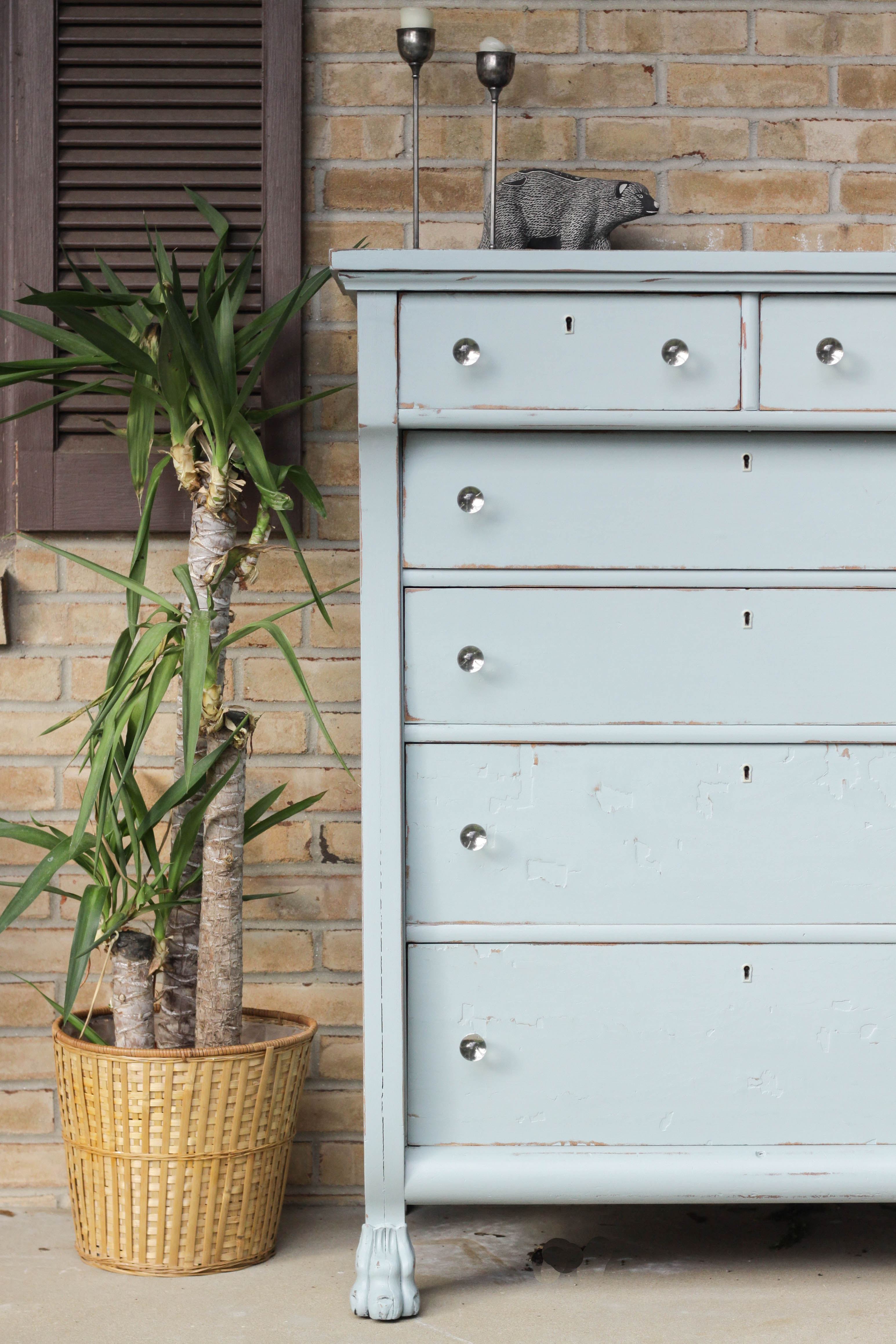 DIY Shabby Chic Soft Blue Antique Dresser