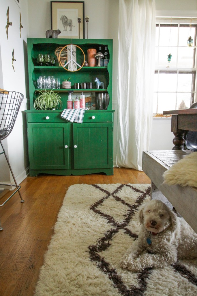 Green hutch in Eclectic Dining Room