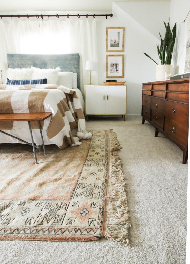 Neutral Modern Boho Bedroom with vintage textiles