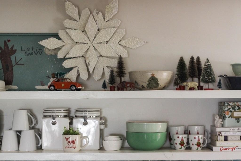 Kitchen Christmas Shelf Styling