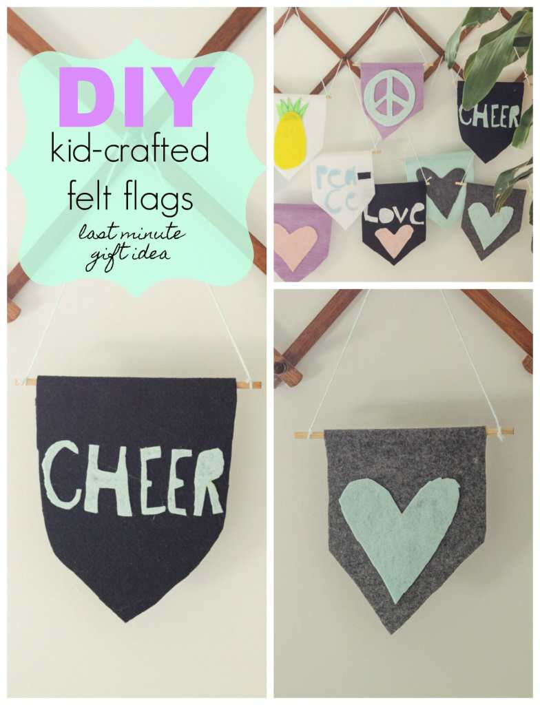 DIY last minute gift idea for kids to make for their friends- felt flags