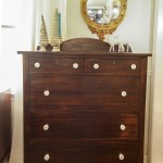 Furniture Makeover: Gorgeous Wood Dresser with Milk Glass Knobs