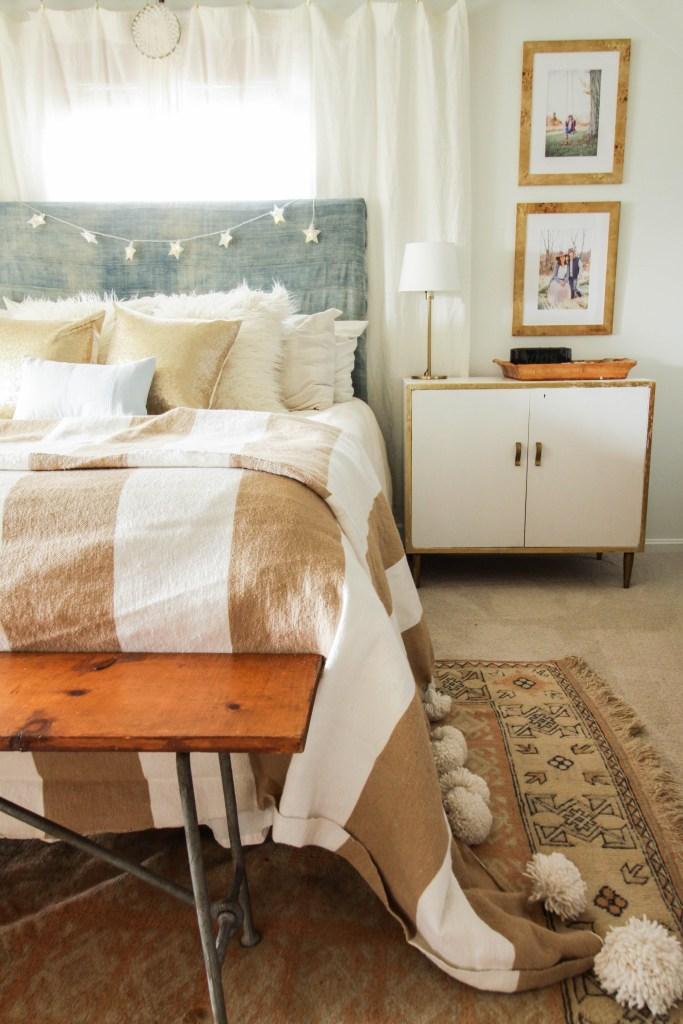 Modern Boho Christmas Bedroom with Mudloth Headboard