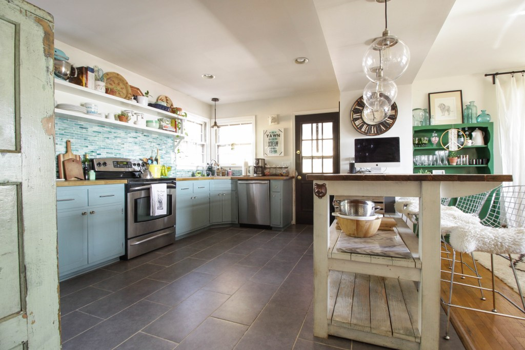 Open Kitchen and Dining Room in blues and Greens
