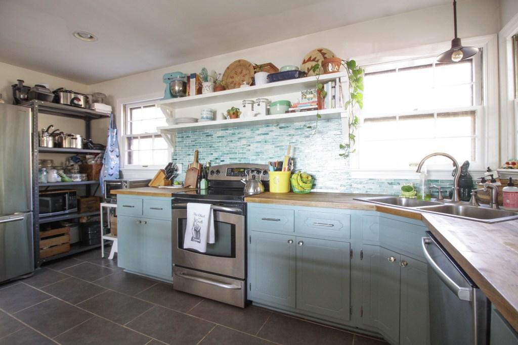 Industrial Style Mint Aqua Kitchen