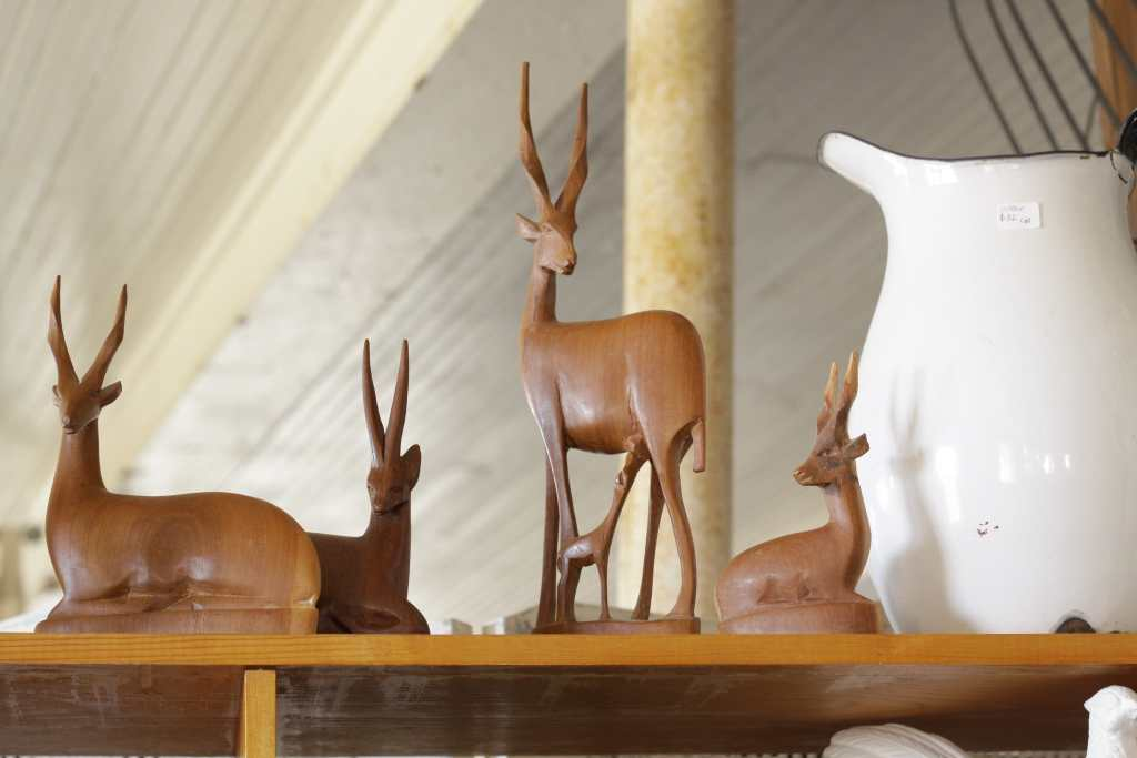 MCM carved wood deer at sweet clover