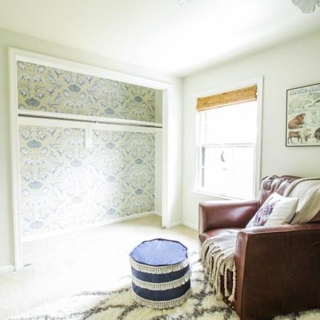 How to Wallpaper a Closet: Nursery Closet Update featuring Wallpaper Direct