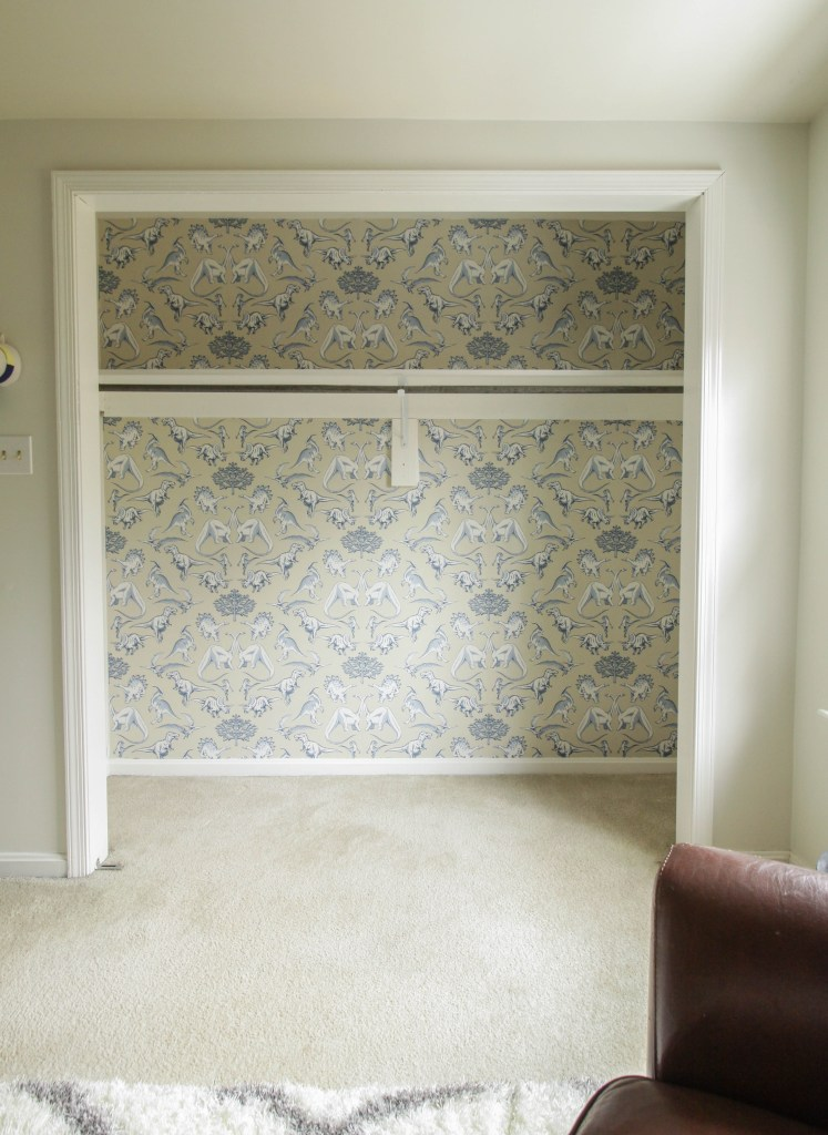 How to hang wallpaper in a closet