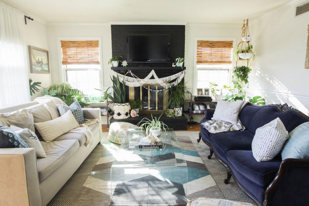 Eclectic Blue Vintage Modern Living Room