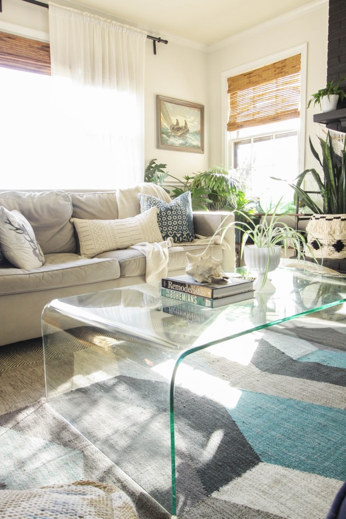 Gray and Aqua Bohemian Living Room