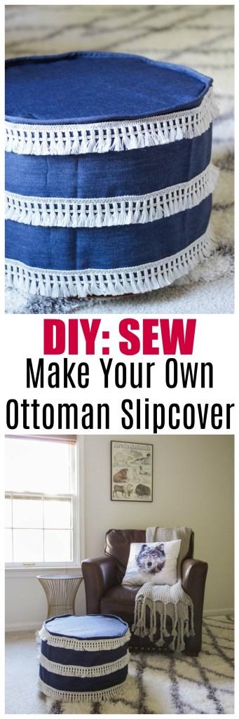 DIY Slipcover for vintage pouf, hassock, ottoman