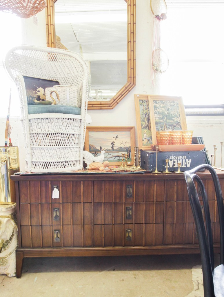 Vintage MCM Sideboard and Bamboo Mirror
