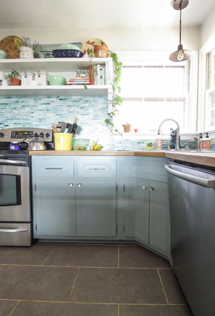 gorgeous farmhouse kitchen in aqua