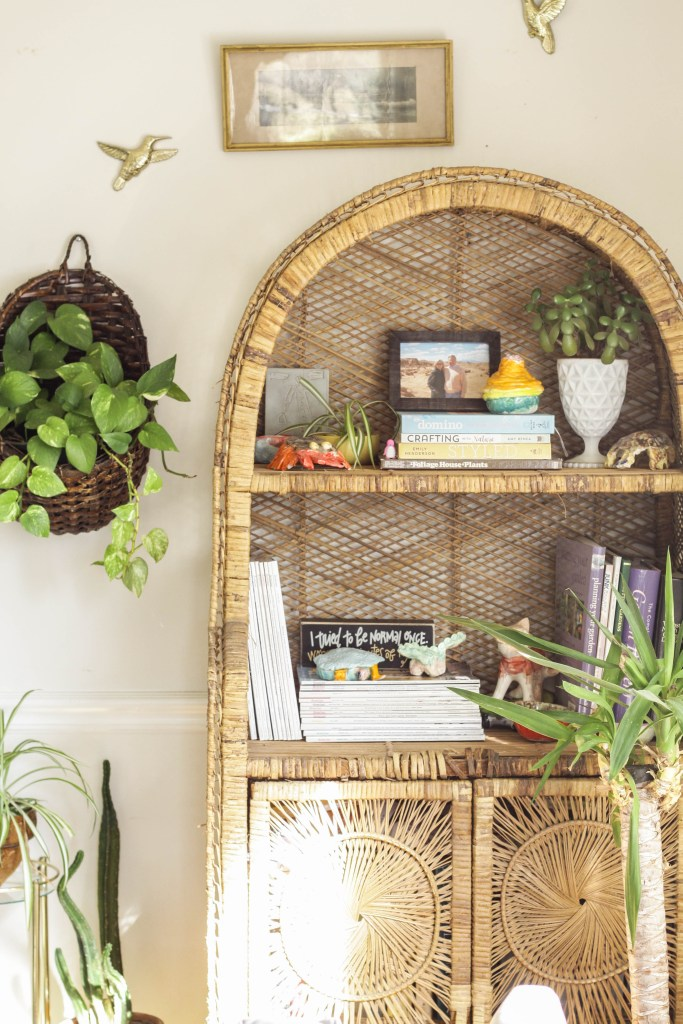 Eclectic Boho Jungalow Wicker Vintage Shelf