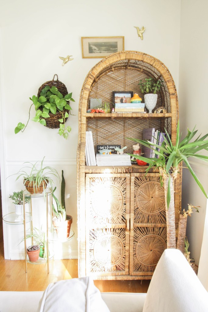 Vintage Wicker Shelf plant display