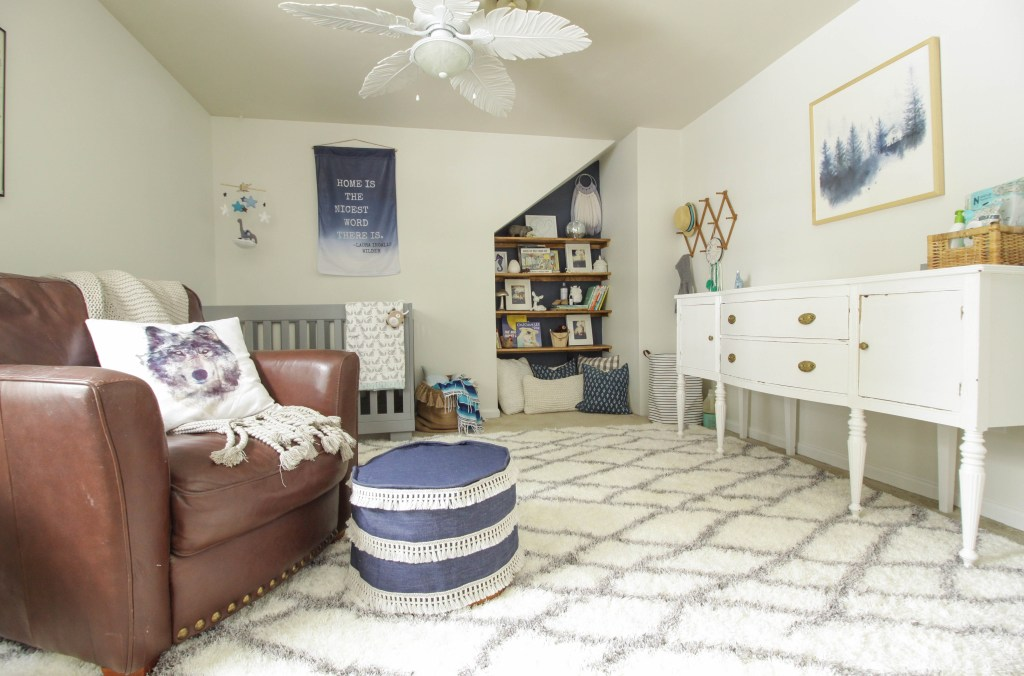 Modern Boho Boys Nursery in white, blue, grey