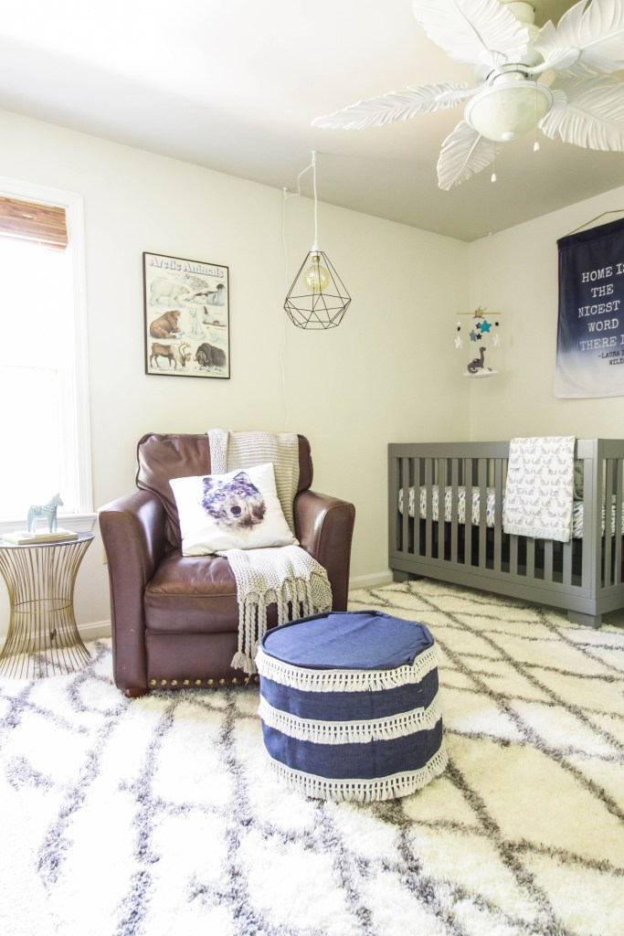 Earthy Modern Boys Nursery in Blue, Gray, White