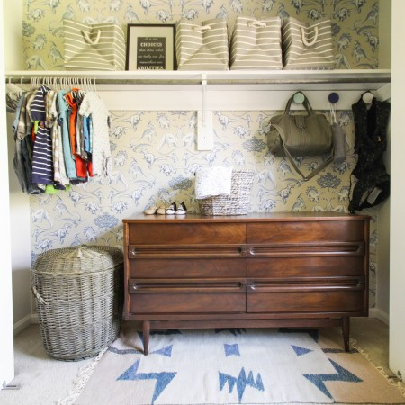 Wallpapered Nursery Closet Reveal
