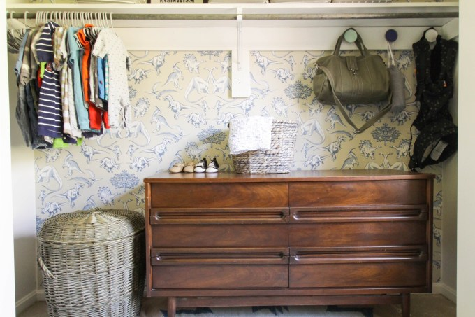 Wallpapered Nursery Closet Reveal