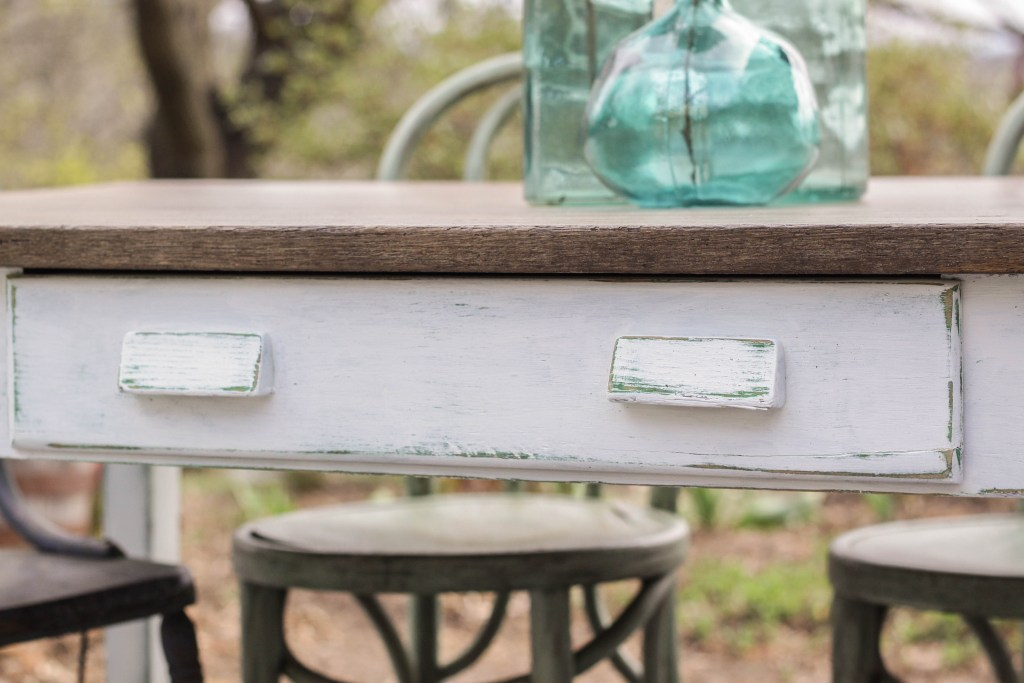 Green under white paint DIY distressing