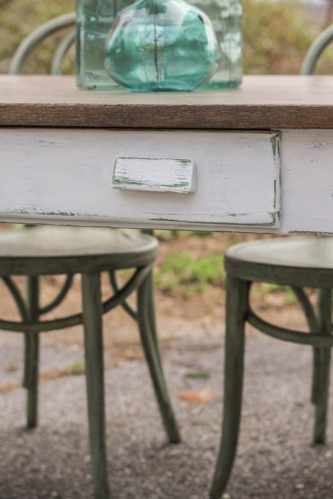White Distressing with Green