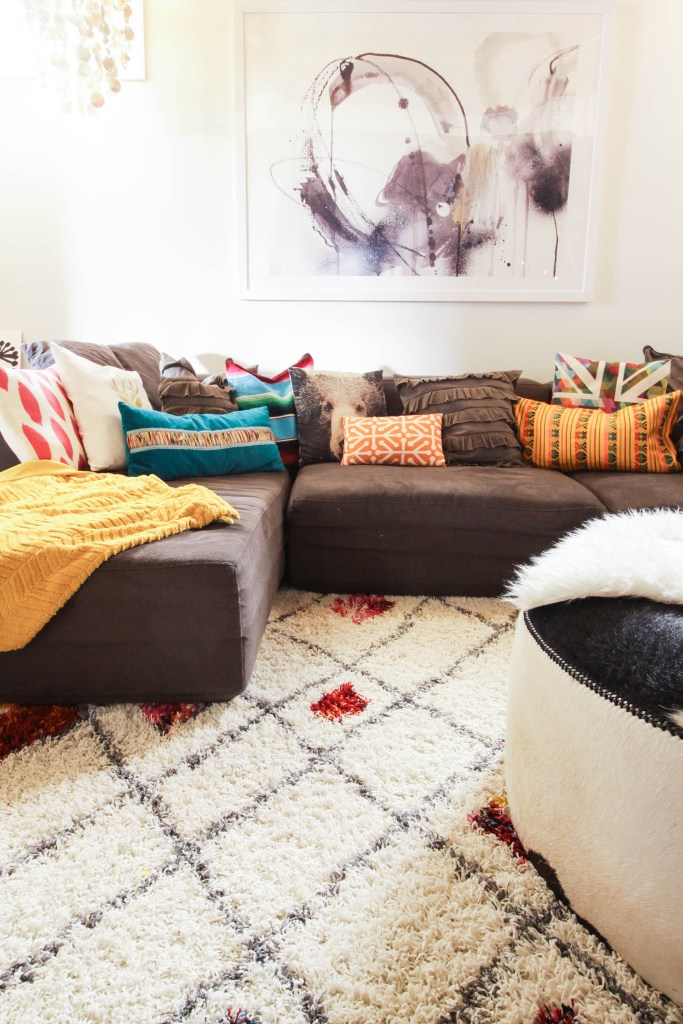 Playroom sofa with colorful pillows