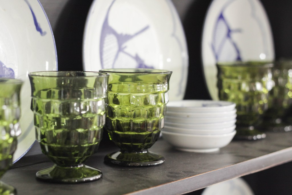 Vintage Green Goblets with blue and white dishes