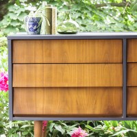 Furniture Makeover: Coastal Blue and Wood Midcentury Dresser