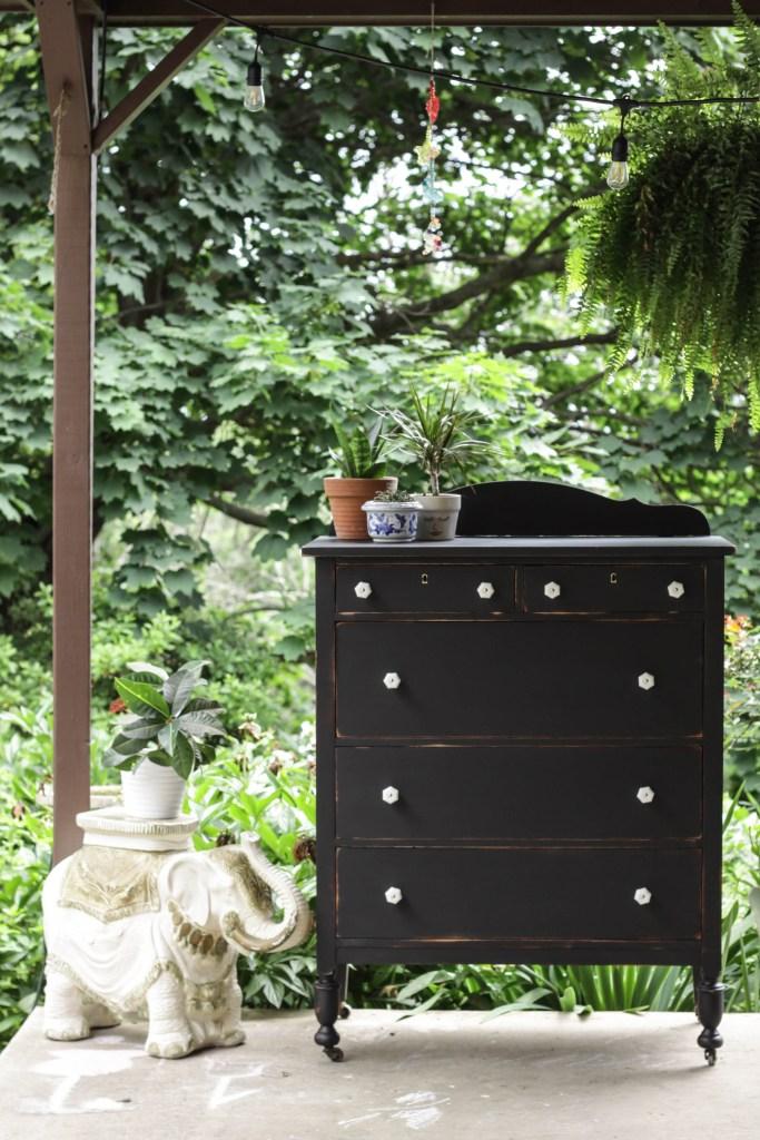 Black Vintage Dresser makeover with General Finishes Lamp Black