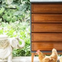 Furniture Makeover: Teal and Wood Midcentury Dresser