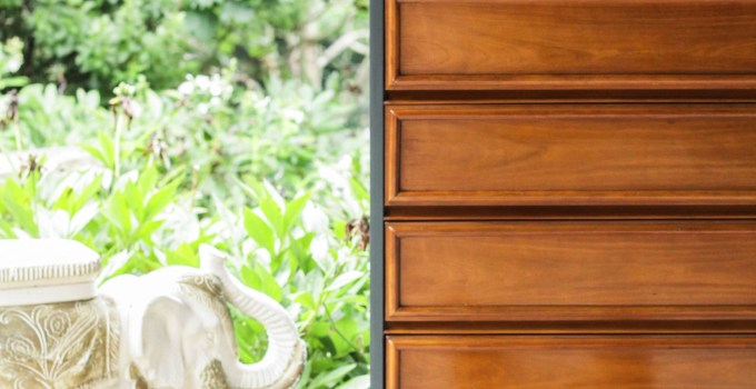 Furniture Makeover: Teal and Wood Midcentury Dresser