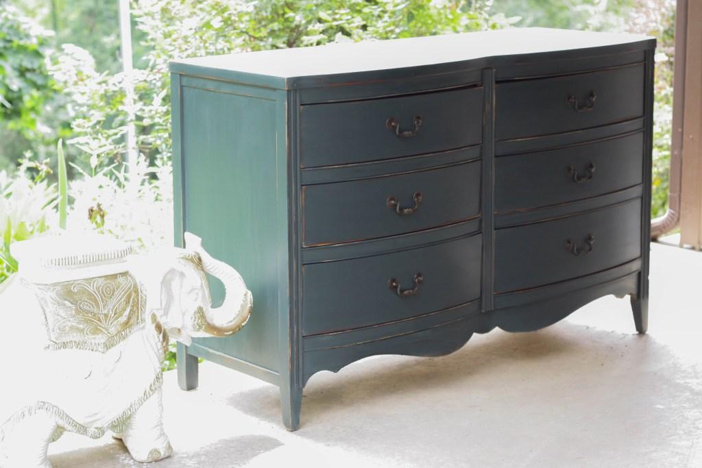 Teal Double Dresser Vintage Furniture Makeover