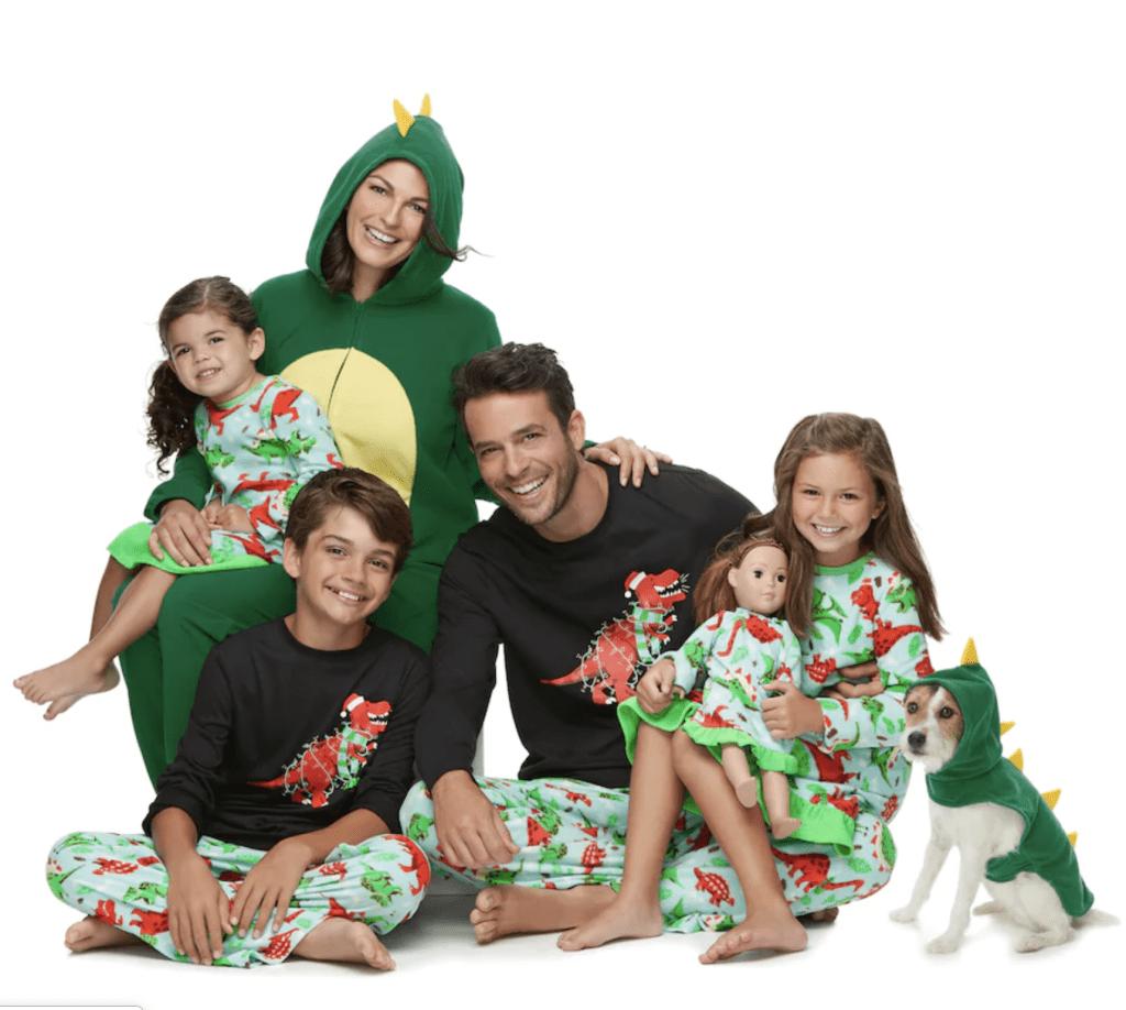 Dinosaur Matching Family Christmas Pajamas