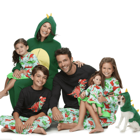 Dinosaur Matching Family Christmas Pajamas