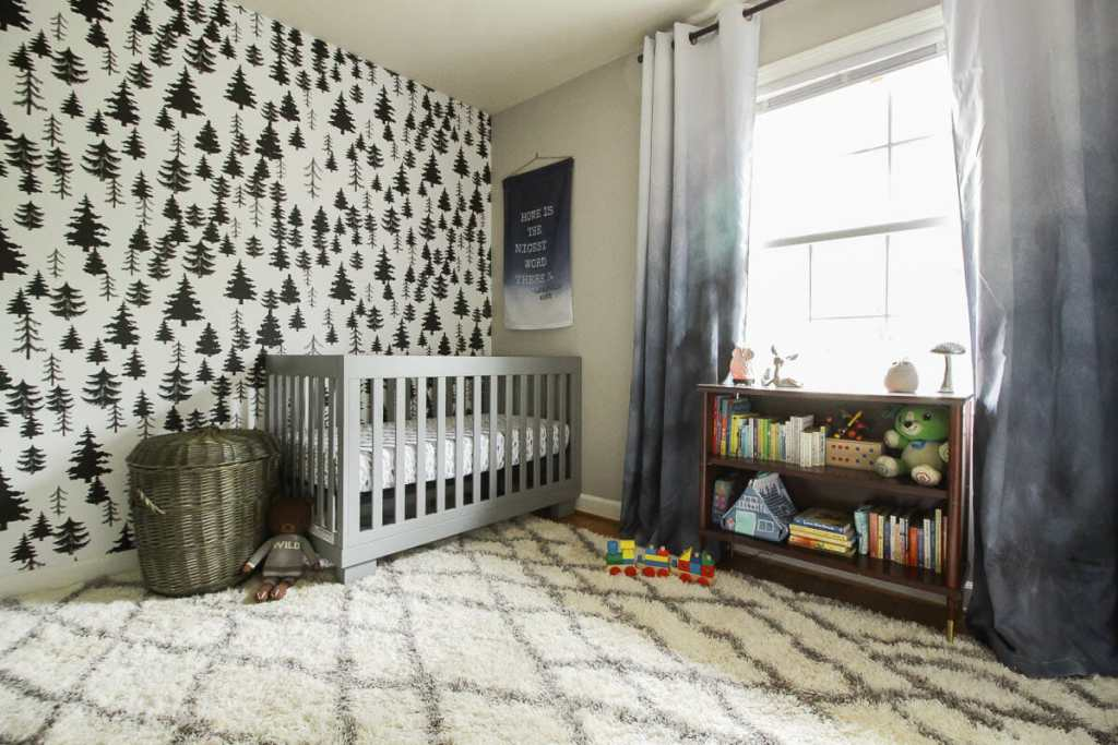 Baby Boy Nursery with Removable Wallpaper