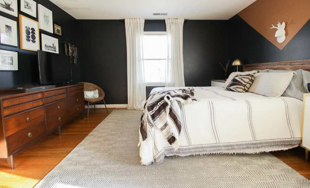 Color Block master bedroom wall DIY