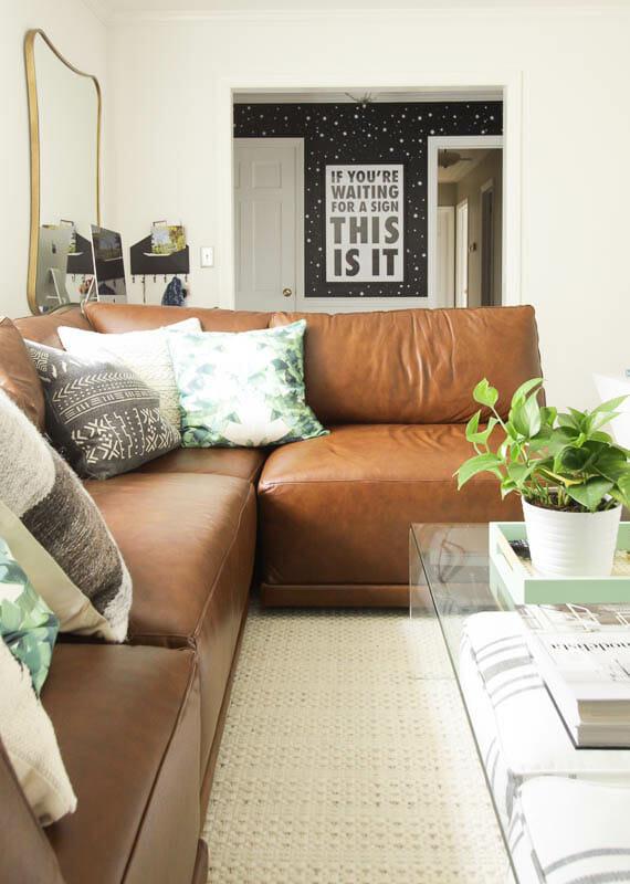DIY Stenciled Entry wall - modern boho living room