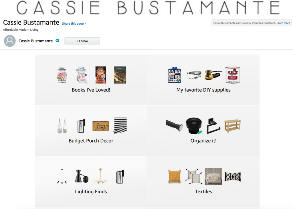 Cassie Bustamante Amazon Storefront