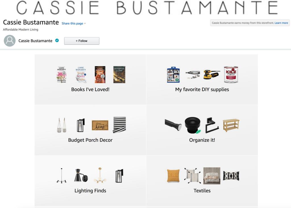 Cassie Bustamante Amazon Storefront