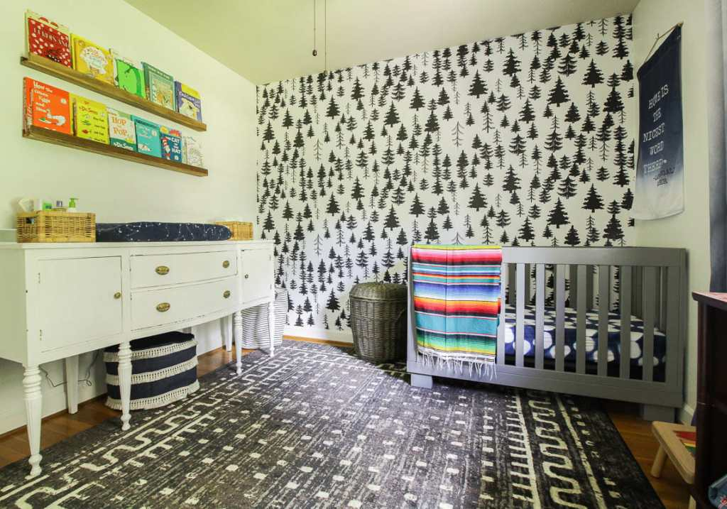 Gender Neutral White, Gray, Black Nursery with colorful accents