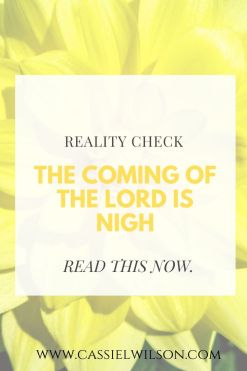 Reality check: the coming of the Lord is nigh | Cassie L. Wilson - learning to be the light