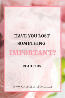 What to do when something important is lost: pray
