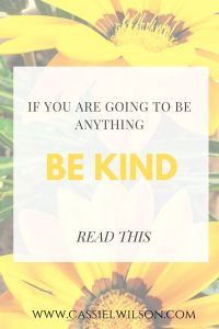 If you're going to be anything, be kind. | Cassie L. Wilson - learning to be the light