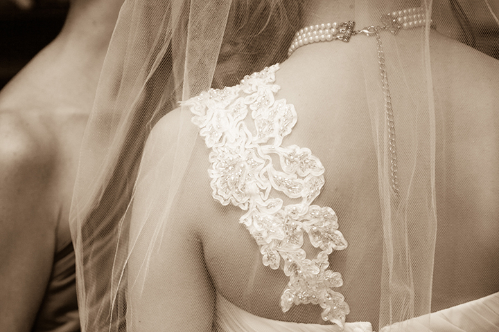 back of dress and veil